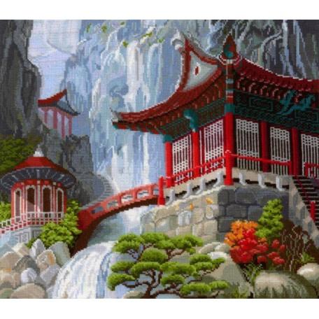 Набор для вышивания 'Сделай своими руками' арт.ССР.В-12 Водопад и пагода 40х35 см