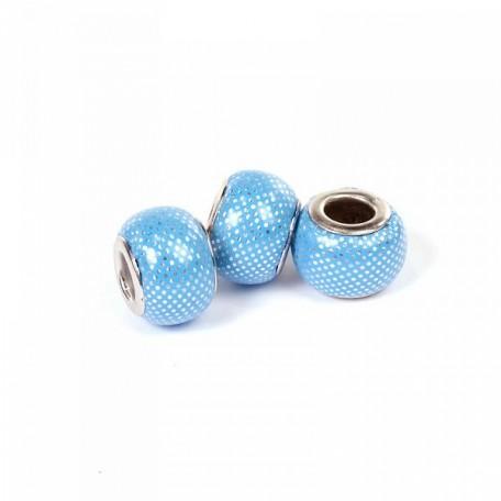 Бусины кожаные PANDORA арт. PN-8436 цв.B св.голубой 15 мм, in d-5 мм