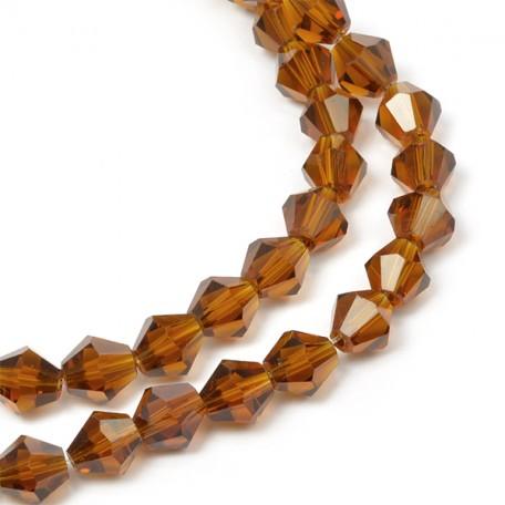 Бусины граненые Биконус(стекло) на нитях арт.TBY-K-1 4мм цв.20 (120 бусин)