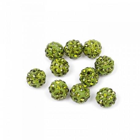 Бусины Шамбала TBY SHN.10 цв.34 зеленый d-10мм