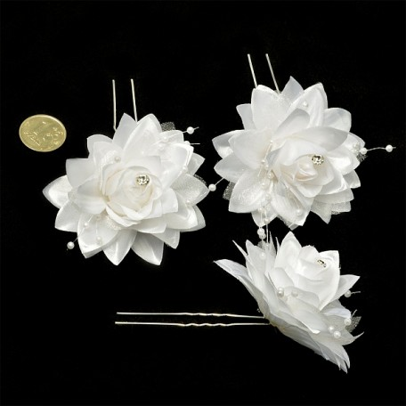 Шпильки арт.AVSH008 с цветком цв.белый уп.60 шт