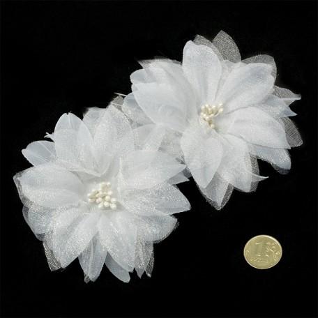 Шпильки арт.AVSH010 с цветком цв.белый уп.60 шт