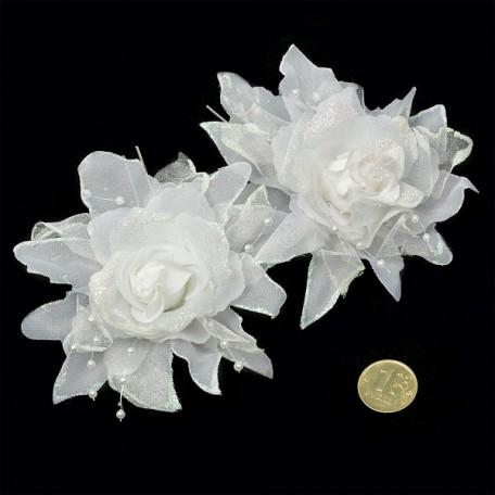 Шпильки арт.AVSH011 с цветком цв.белый уп.60 шт