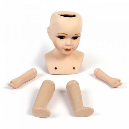 Набор для изготовления куклы арт.КЛ.20156 голова, 2 руки, 2 ноги, керамич. мал
