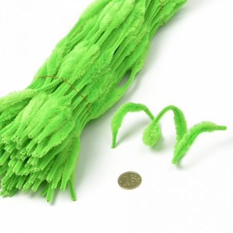 Скрутки бархатные фигурные 30см цв. А012 салатовый уп.100шт