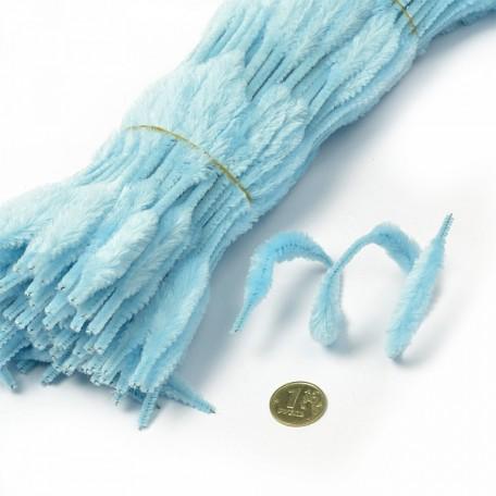Скрутки бархатные фигурные 30см цв. А017 голубой уп.100шт