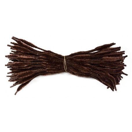 Скрутки бархатные фигурные 30см цв. А021 коричневый уп.100шт