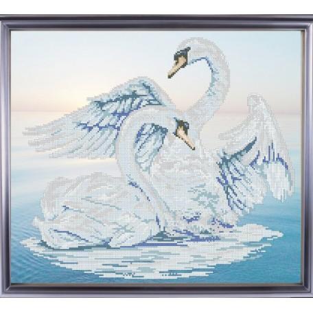 Рисунок на ткани 'Славяночка' арт. КС-008 Лебединая пара 36х42 см
