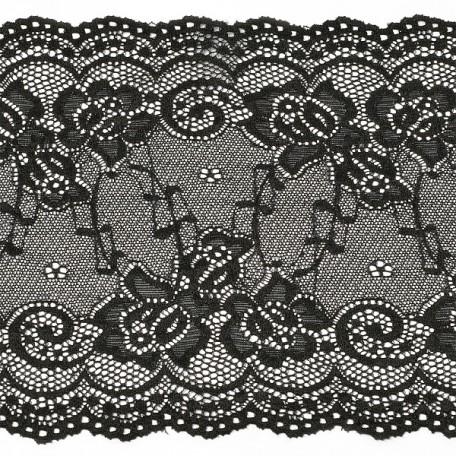 Кружево-стрейч арт.TBY-1373 шир.180мм цв.черный уп.18,3м