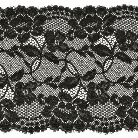 Кружево-стрейч арт.TBY-2017 шир.200мм цв.черный уп.18,3м