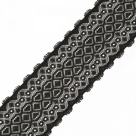 Кружево-стрейч арт.TBY-2900 шир.50мм цв.черный уп.18,3м