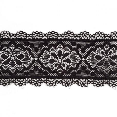 Кружево-стрейч арт.TBY-4349 шир.60мм цв.черный уп.45,7м