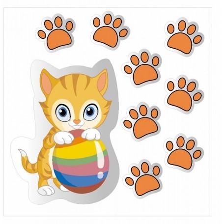 Набор цветных наклеек арт.СВЭН.074 'Котик' 7х5 1 шт, 2х2 см 8 шт