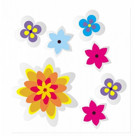 Набор цветных наклеек арт.СВЭН.075 'Цветы' 5,5х5,5 см 1 шт, 2х2 см 6 шт