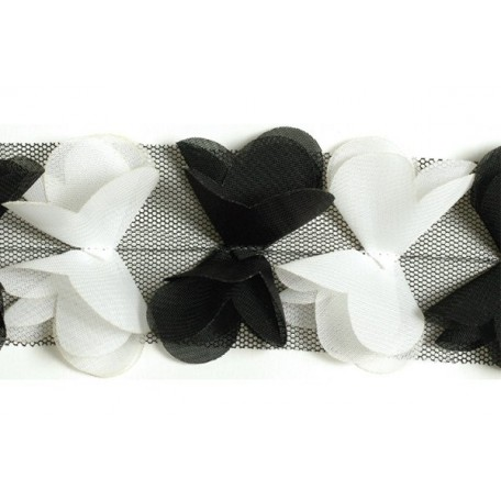 Тесьма арт.TBY-СS-23 шир.23мм цв.белый, черный уп.18,28м