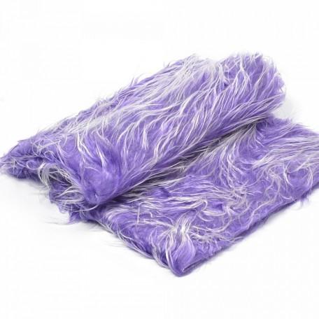Мех 'Длинный ворс' арт.КЛ23172 M-1018 50*56см (+/- 1см) фиолет.с белыми конч.