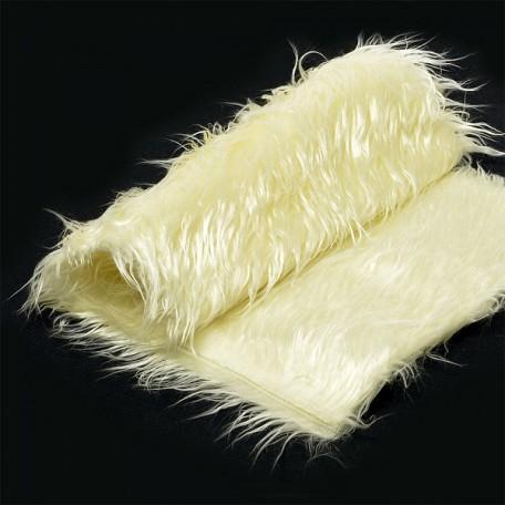 Мех 'Длинный ворс' арт.КЛ23173 M-1019 50*56см (+/- 1см) молочн.с белыми конч.