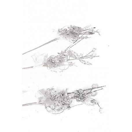 Аксессуар свадебный 105/01 арт.ГС.AW.105/01.YH-12 бутоньерка акриловая посеребренная 20см