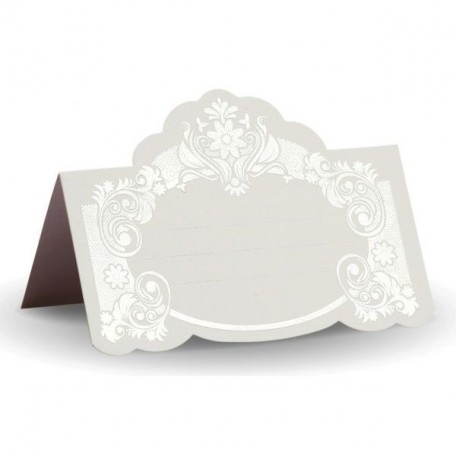 Банкетная карточка, арт.FK.08771-БС белая, тиснение серебро
