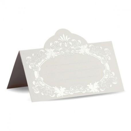 Банкетная карточка, арт.FK.08772-БС белая, тиснение серебро