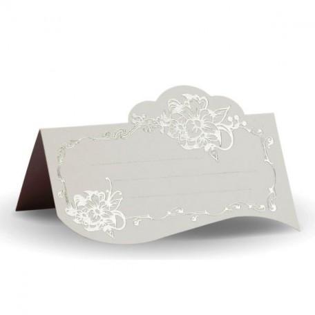 Банкетная карточка, арт.FK.08773-БС белая, тиснение серебро