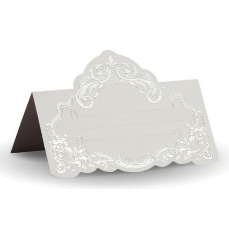 Банкетная карточка, арт.FK.08774-БС белая, тиснение серебро