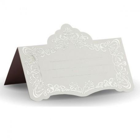 Банкетная карточка, арт.FK.08776-БС белая, тиснение серебро
