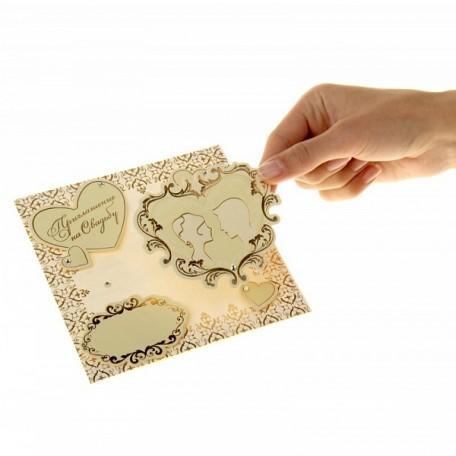 СЛ.841587 Набор свадебных приглашений скрапбукинг 'Сердца' уп.10 шт 17,8х25,8 см