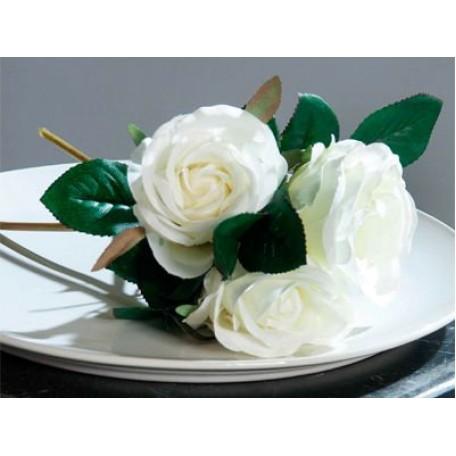Цветы искусственные арт.LT.40072-05 Букет из роз х3 цв.белый 26см