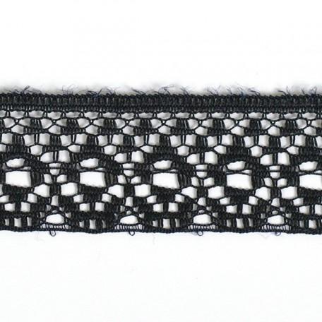 Кружево-трикотаж арт.7с1-г10 (16с) шир.20мм цв.черный уп.50м