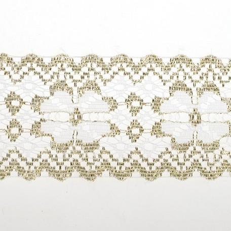 Кружево-трикотаж арт.7с1-г10 (16с) шир.50мм цв.белый/золото уп.50м