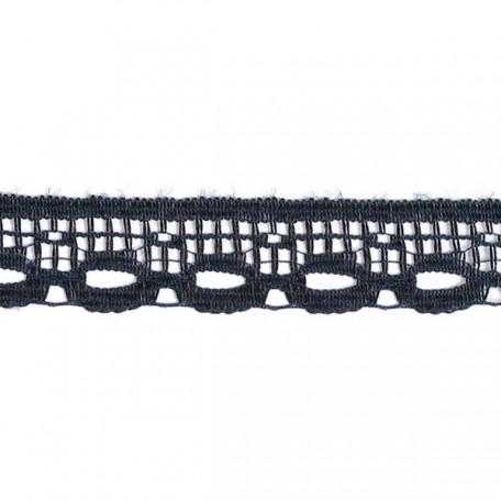 Кружево-трикотаж арт.7с1-г10 шир.15мм цв.черный уп.50м
