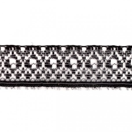 Кружево-трикотаж арт.7с1-г10 шир.20мм цв.черный/белый уп.50м