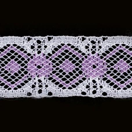 Кружево-трикотаж арт.7с1-г10 шир.30мм цв.белый/фиолетовый уп.50м
