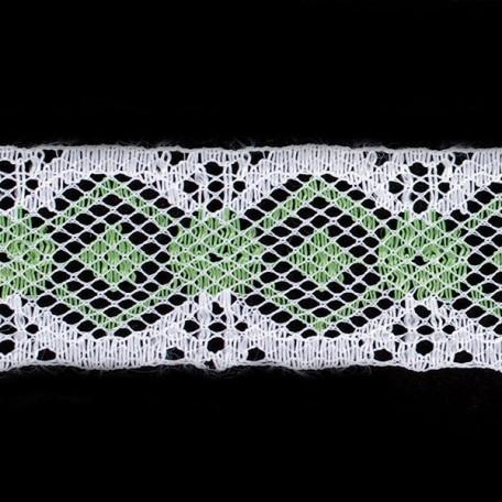 Кружево-трикотаж арт.7с1-г10 шир.30мм цв.белый/салатовый уп.50м