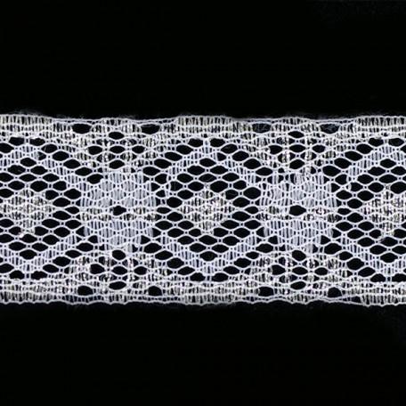 Кружево-трикотаж арт.7с1-г10 шир.30мм цв.белый/серебро уп.50м