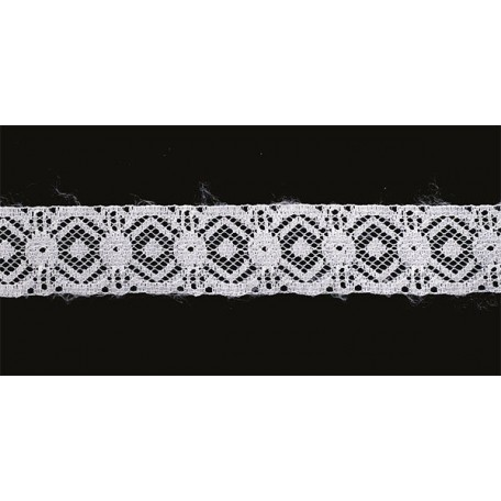Кружево-трикотаж арт.7с1-г10 шир.30мм цв.белый уп.50м