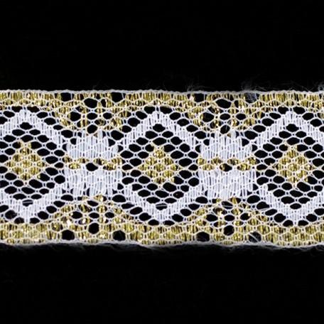 Кружево-трикотаж арт.7с1-г10 шир.30мм цв.белый/золото уп.50м