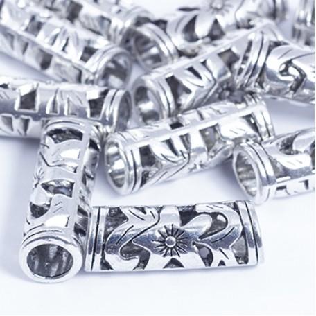 Бусины Трубочки металл арт. МБ.УТ29371 цв.ант.серебро 23х8 мм 10шт