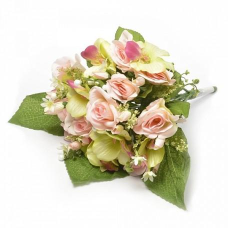 Букет розы и орхидеи арт.САД.L31-02 цв.бело-розовый L=40 см