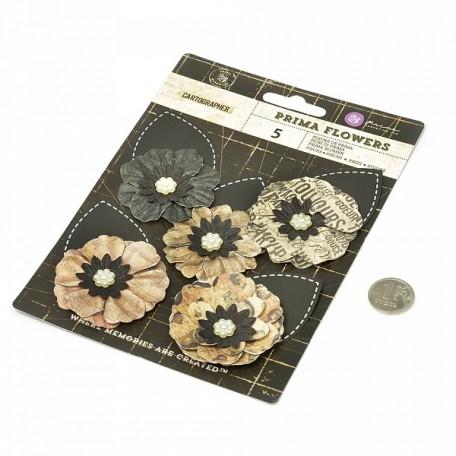 Бумажные цветы Cartographer арт.574505 7,6 см 8 шт Путешественник