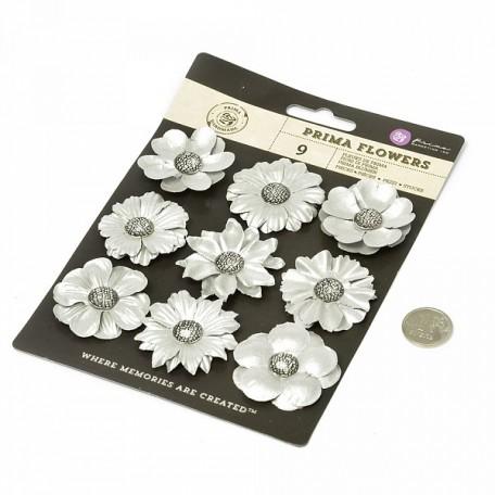 Бумажные цветы Luna арт.574598 3,8-4,5 см 9 шт Серебряные