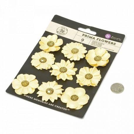 Бумажные цветы Luna арт.574666 3,8-4,5 см 9 шт Золотые