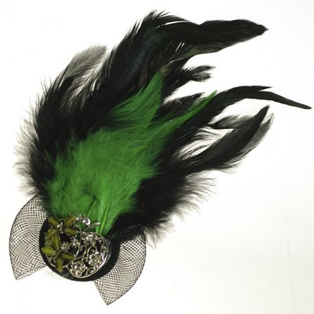 Украшение с перьями на булавке арт.ТВY-YZ-10 цв. 3 зеленый