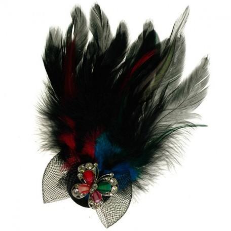 Украшение с перьями на булавке арт.ТВY-YZ-9 цв. 8 синий