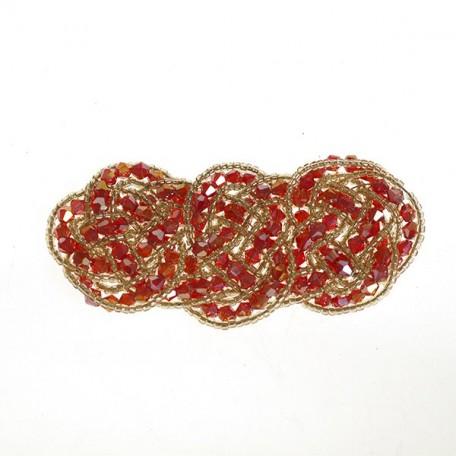 Украшение пришивное с бисерои и бусинами арт.ТВY-YZ-2 цв. 1 красный