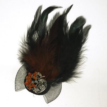 Украшение с перьями на булавке арт.ТВY-YZ-10 цв. 7 коричневый