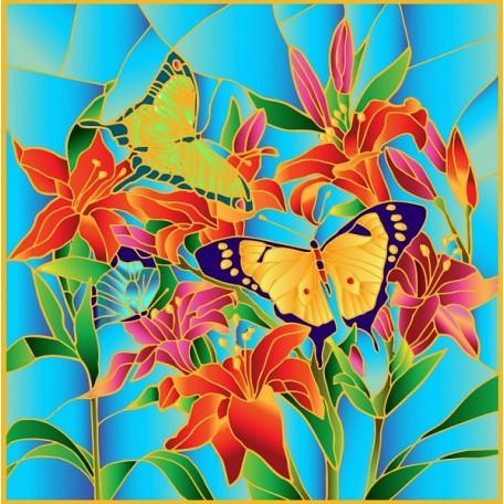 Набор для создания витража 'Колор Кит' арт.КК.HS002 Бабочки 43х43