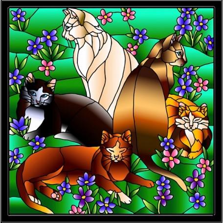 Набор для создания витража 'Колор Кит' арт.КК.HS005 Кошки в незабудках 43х53 см
