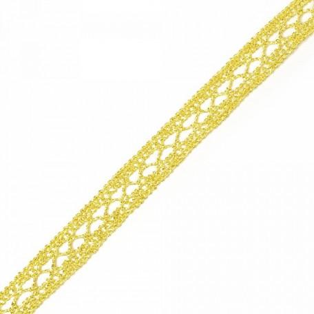 Кружево вязаное арт.A1176.01 шир.15мм цв.золото уп.9,14м